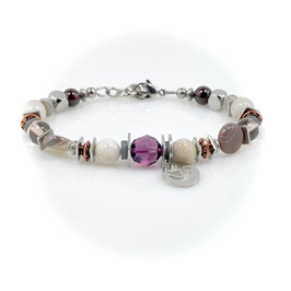 #2026-MCW, CHEX Collection Mauve/Copper/White, Bracelet with charm Love Dove