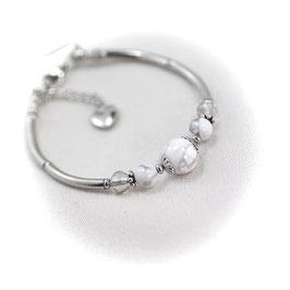 #1938-HWGL, Howlite & Faceted Glass, Bracelet