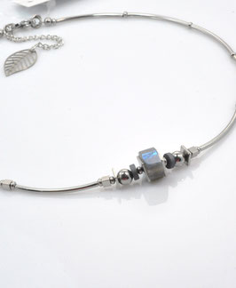 #2060-T-LB1, Labradorite & Tubes, Necklace/Collier