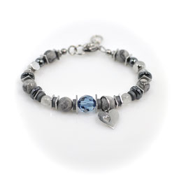 #2026-BG, CHEX Collection Blue/Gray, Bracelet with Heart-in-a-Heart charm