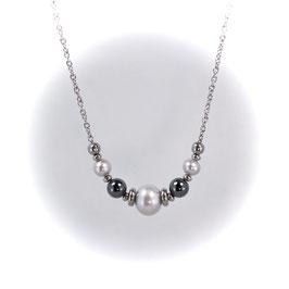 #1917-GPHM, Graduated Gray Pearl & Hematite, Necklace/Collier