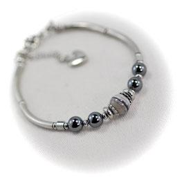 #1938-SAG, Striped Agate & Hematite, Bracelet