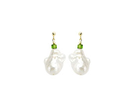 Baroque pearl earrings with Swarovski cube - green