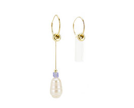 Bublique earrings with rock chrystal and pearl