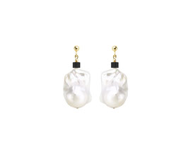 Baroque pearl earrings with Swarovski cube - black