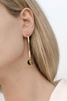 Lennse chain green stud earrings