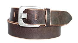 Herren Jeansgürtel 5 cm breite 100% Büffelleder Gürtel mit zeitlos stylischer Schnalle im Used Look- Individuell kürzbar durch Schraubhalterung (2 Jahre Garantie)