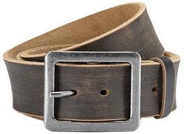 Herren Jeans Gürtel Büffelleder Gürtel im Used Look 4,5 cm Breite- Massige Schnalle im Used Look- Individuell kürzbar