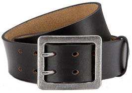 Eg-Fashion Stylischer Jeansgürtel Herren Büffelleder Gürtel Doppeldorn-Schließe 4,5 cm Breite - Massige Schnalle