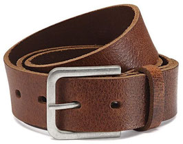 Herren Jeansgürtel 4cm Breite Gürtel aus 100% Büffelleder - Schnalle im Used Look - Individuell kürzbar (2 Jahre Garantie)