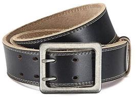 Eg-Fashion| Stylischer Jeansgürtel Herren Büffelleder-Gürtel mit Doppeldorn 4,5 cm Breite - Ziernaht am Rand