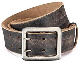 Eg-Fashion Stylischer Jeansgürtel Herren Büffelleder-Gürtel mit Doppeldorn 4,5 cm Breite - Kantige Schnalle