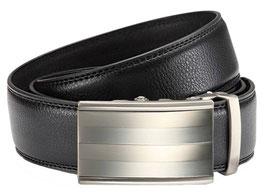 Gürtel mit Automatikschließe Herren Anzug Gürtel Echtleder Schwarz in 3,5cm Breite - Satinierte, zweifarbige Schließe | Stufenlos verstellbar und individuell kürzbar