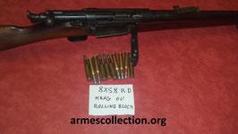Cartouche, munitions PLEINES rechargeable pour krag jorgensen et rolling block 8X58RD DANISH DANNOIS