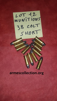 Lot de 12 munitions 38 COLT SHORT rechargeables.