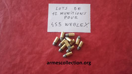 Lots de 12 munitions 455 WEBLEY rechargeables.