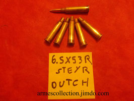 10 cartouches, munitions PLEINES rechageables pour steyr 95 dutch hollandais. 6.5X53R