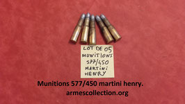 lot de 05 munitions 577/450 martini henry neuves et rechargeables.