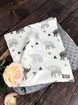 """Premium Babykuscheldecke """"Elefanten"""" dunkelgrau"""