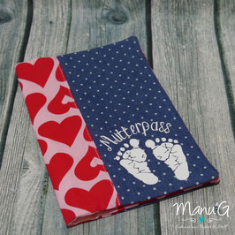 Mutterpasshülle - Fußabdrücke rote Herzen