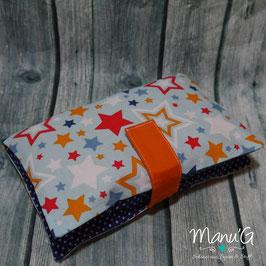 Windeltasche - Sterne blau/orange
