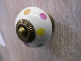 Bouton de meuble en porcelaine Pois colorés B4