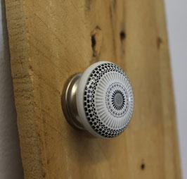 Bouton de meuble porcelaine Mandala gris B14