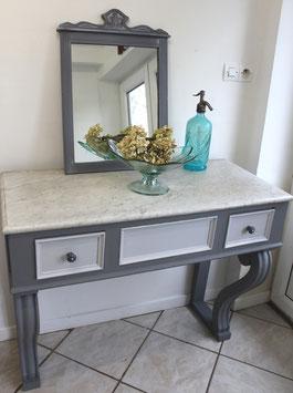 Console grise plateau marbre Elise