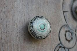 Bouton de meuble porcelaine Mandala vert B8
