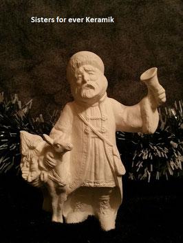 Santa mit Glocke und Rentier