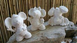 Drei kleine Mäuse Ebony, Fluffy und Filou