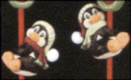 Zwei Weihnachtspinguine für Besen