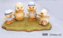 Vier kleine Küken Sam, John, Pepe und Sally
