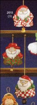 Drei  lustige Weihnachtsmänner zum hängen auch als Glocken verwendbar