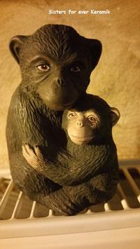 kleine Affenmutter mit Jungem