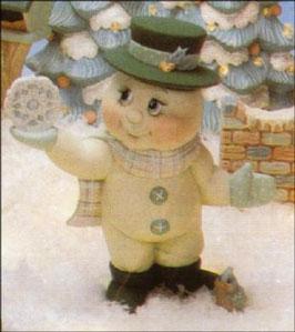Schneemann Flockerl mit Hut mit Schneeflocke in der Hand
