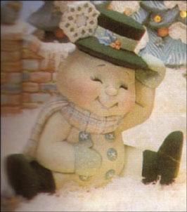 Schneemann Smile mit Hut und Schneeflocke sitzend