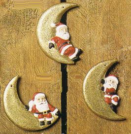 Drei Weihnachtsmannanhänger auf Mondsichel im Set