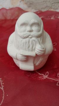 Kleiner runder Weihnachtsmann mit Schriftrolle