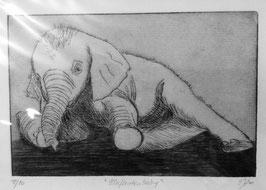 """Radierung """"Elefantenbaby"""" 12/20"""