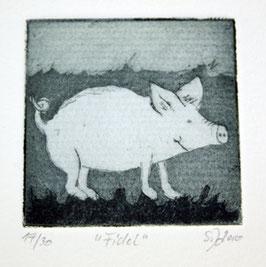 """Radierung Schwein """"Fidel"""" 19/30"""