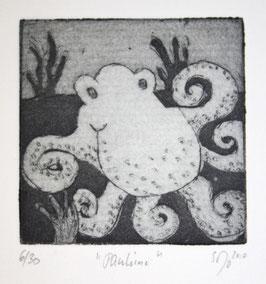 "Radierung Octopus ""Pauline"" 6/30"