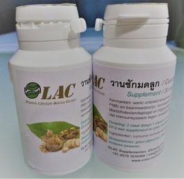 OLAC Curcuma Xanthorrhizza Roxb / วานชักมดลูก - 30 capsules