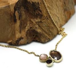 collier goud met bruine saffier, rookkwarts en roze maansteen