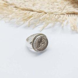 stoere zilveren met gouden zegel ring met afbeelding wolf