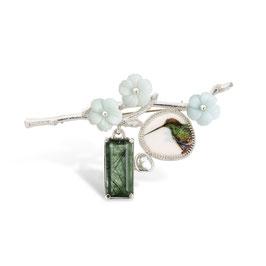 broche zilver met vogel, bloemen ,parel en groene rutielkwarts