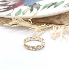 ring goud met krullen en blaadjes vintage style met diamant