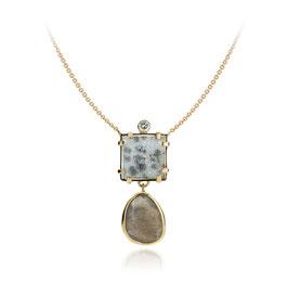 collier goud met diamant, druzy quartz en grijze maansteen