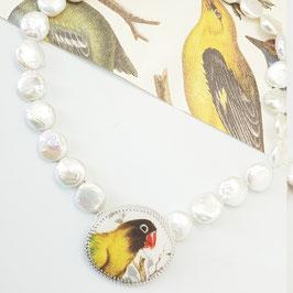 collier barok parels met hanger zilver porselein met vogel