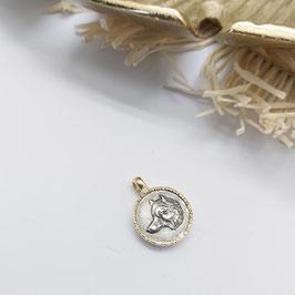 Hanger amulet wolf 14 krt goud met zilver